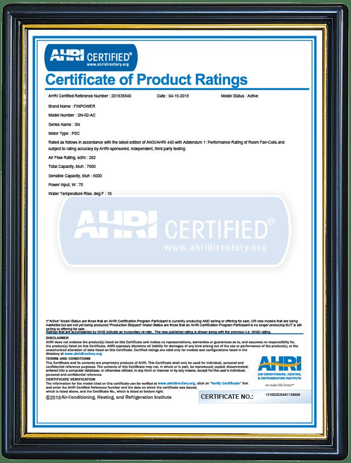 ahri certified fcu
